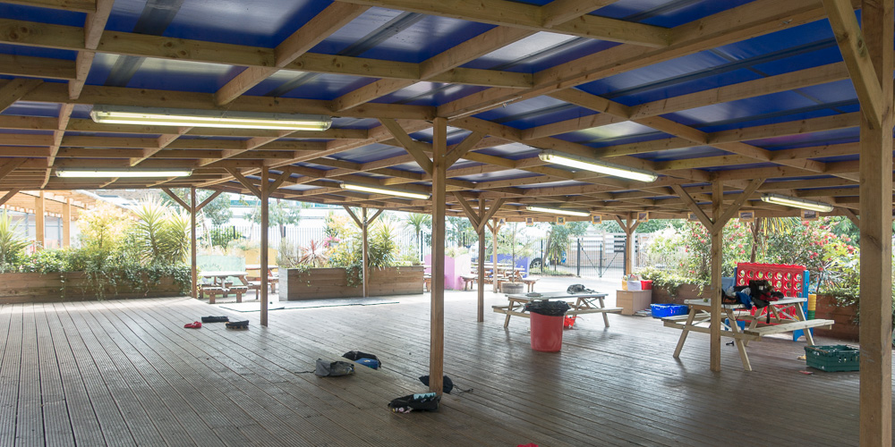 Covered outdoor area great for Summer Parties